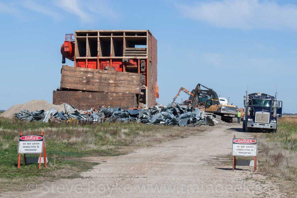 Demolition of the Carey grain elevator