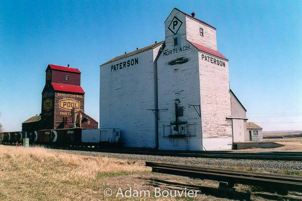 Mortlach grain elevators, May 2005. Contributed by Adam Bouvier.