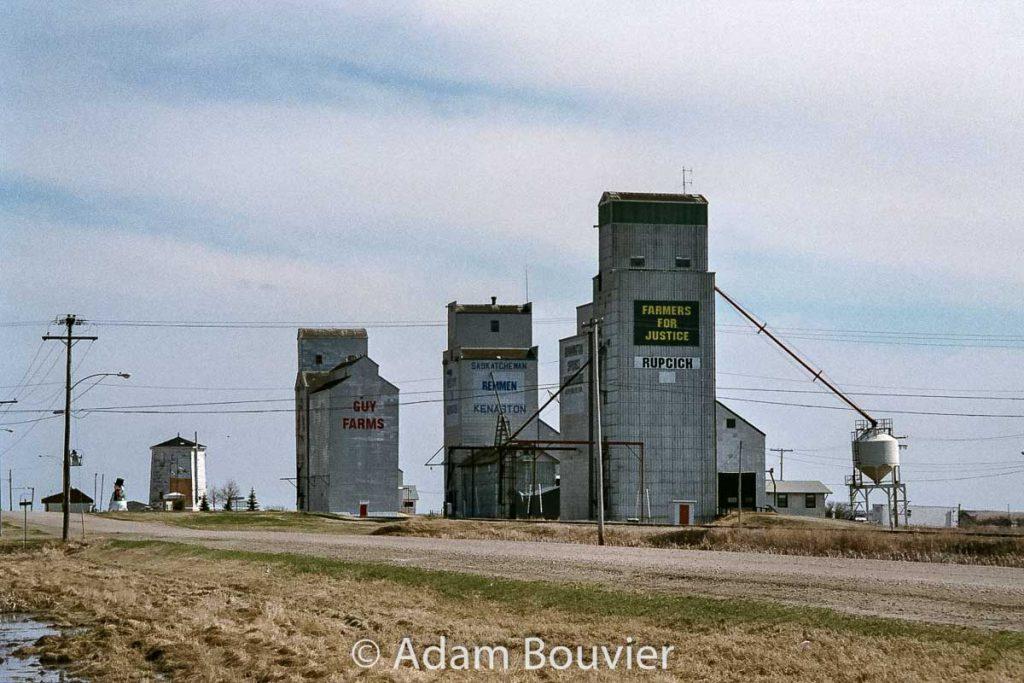 Kenaston, SK grain elevators, April 2009. Contributed by Adam Bouvier.