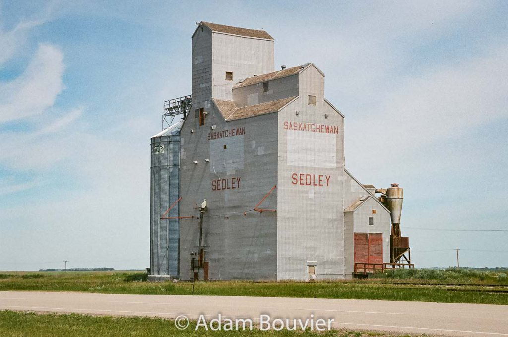 Sedley grain elevator, June 2017. Contributed by Adam Bouvier.
