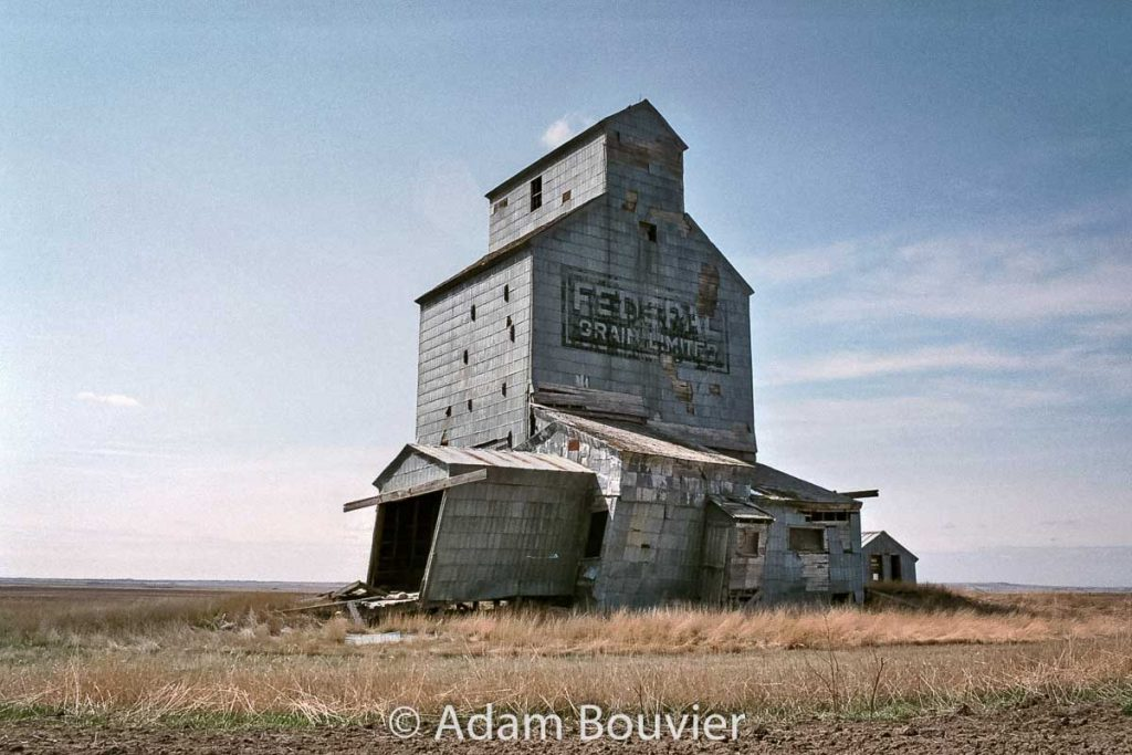 The grain elevator in Moreland, SK, April 2008. Contributed by Adam Bouvier.