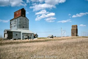 Neelby, SK grain elevators, April 2009. Contributed by Adam Bouvier.
