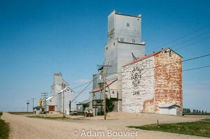 Two grain elevators in Lang, SK, 2017. Contributed by Adam Bouvier.