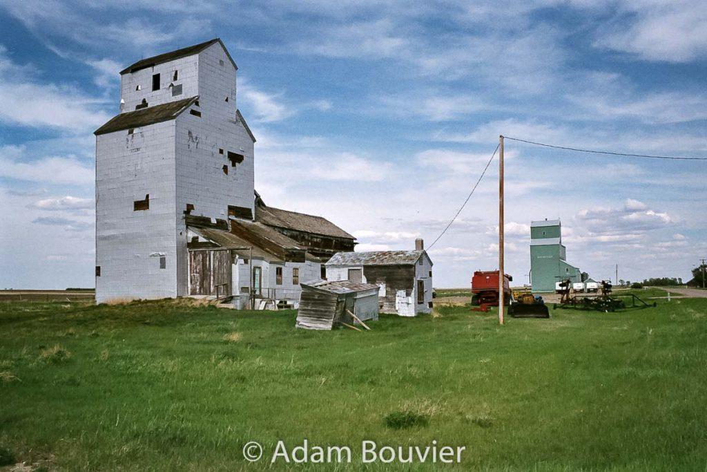 Wrentham, Alberta grain elevators, May 2009. Contributed by Adam Bouvier.