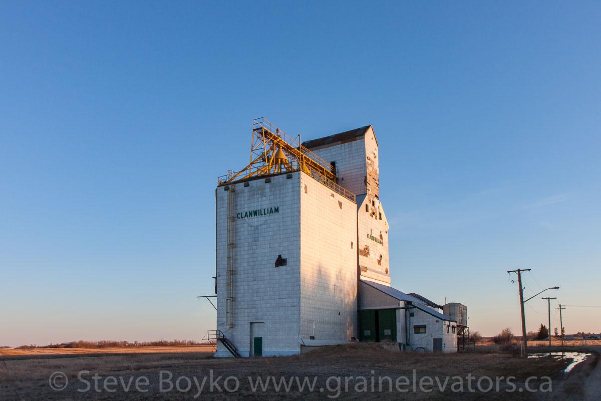 The grain elevator in Clanwilliam, Manitoba. April 2016.