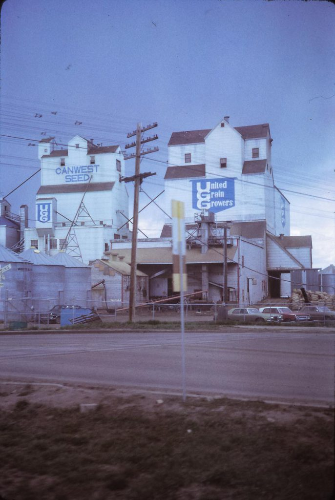 Former UGG grain elevator in Edmonton, AB, 1972. Contributed by Eric May.