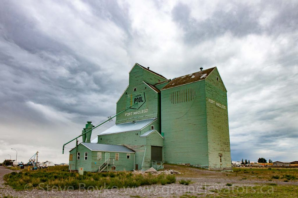 Ex Alberta Wheat Pool grain elevator in Fort MacLeod, AB. May 2016.