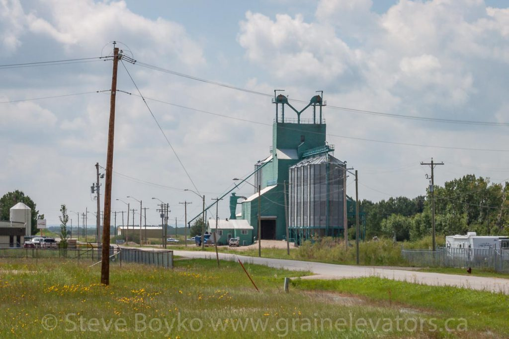 Ex Alberta Wheat Pool grain elevator in Bieseker, AB, July 2013.