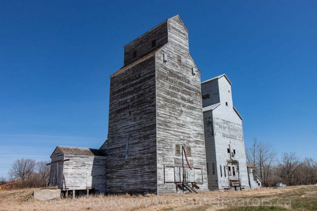 The Isabella, MB grain elevators, April 2016. Contributed by Steve Boyko.