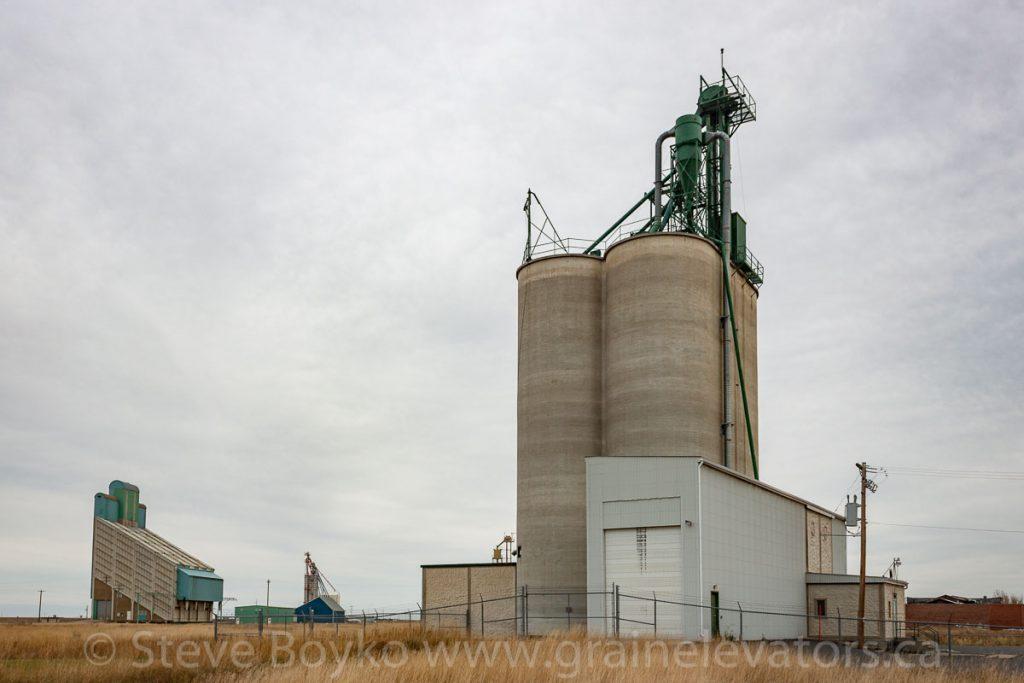 Concrete grain elevator in Magrath, AB, October 2014