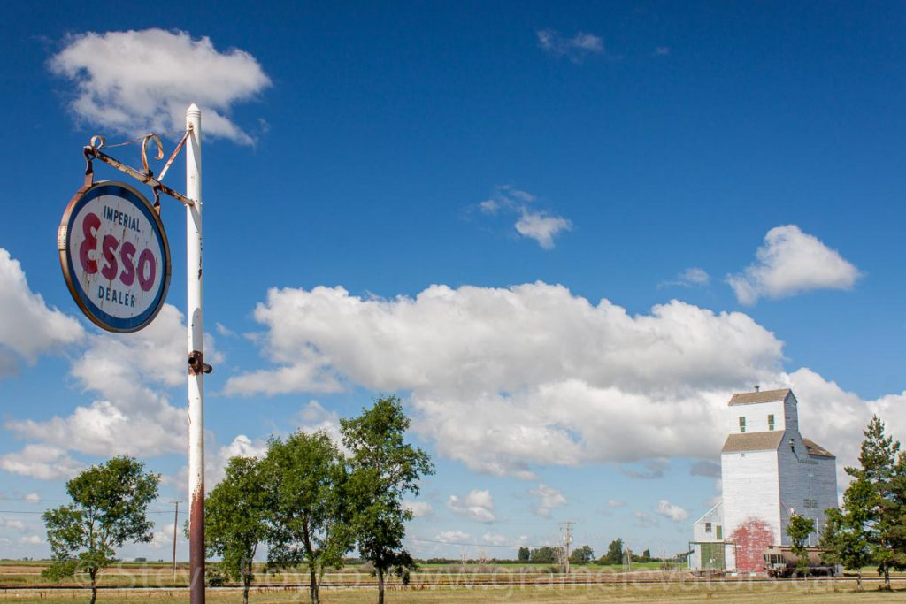 Osage grain elevator and an Esso sign, August 2015