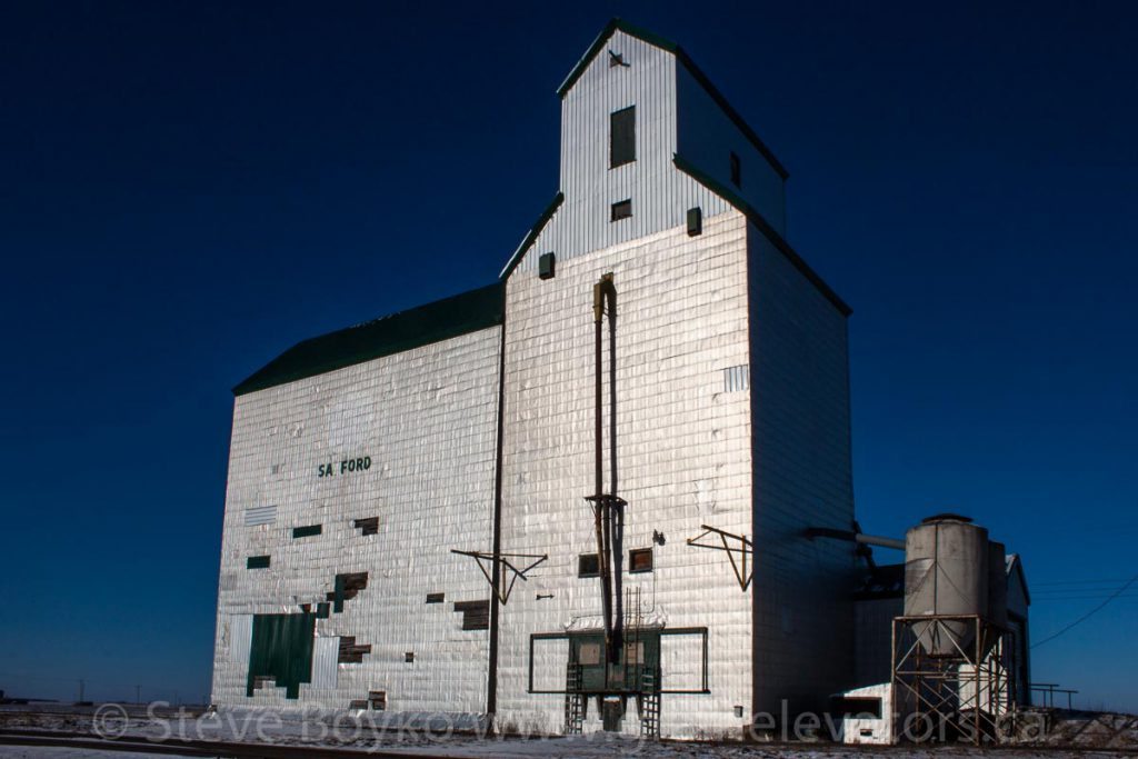 Sanford, MB grain elevator, Dec 2014. Contributed by Steve Boyko.