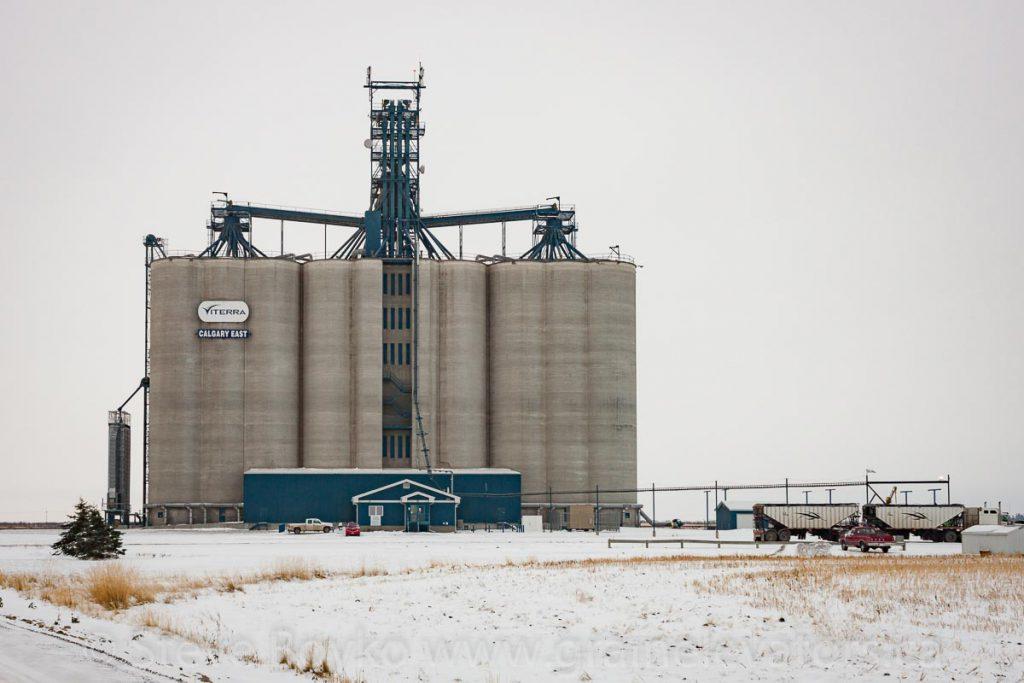"Viterra ""Calgary East"" grain elevator near Indus, Alberta. October 2012."