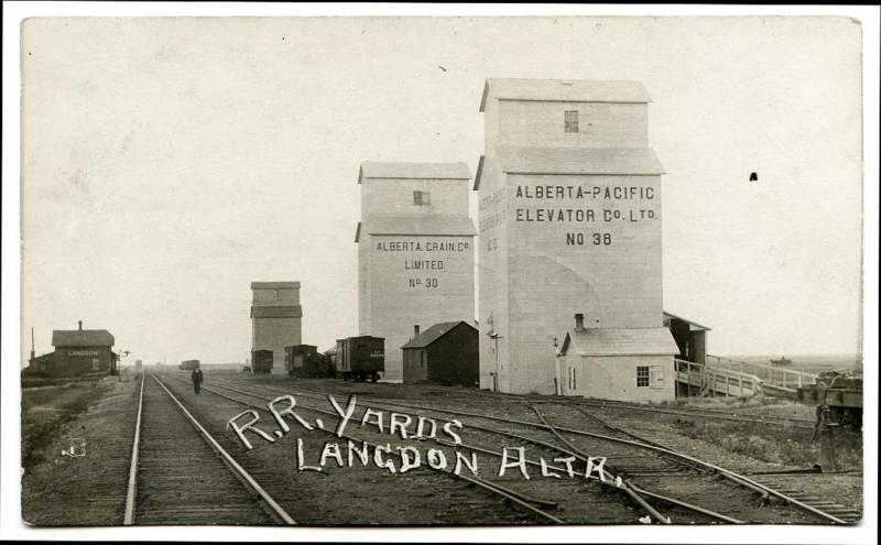 Grain elevators in Langdon, AB, 1912