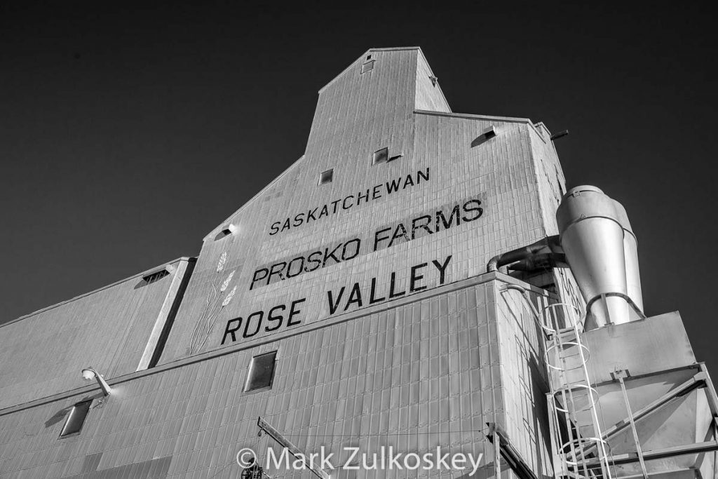 Prosko Farms grain elevator in Rose Valley, SK. Contributed by Mark Zulkoskey.