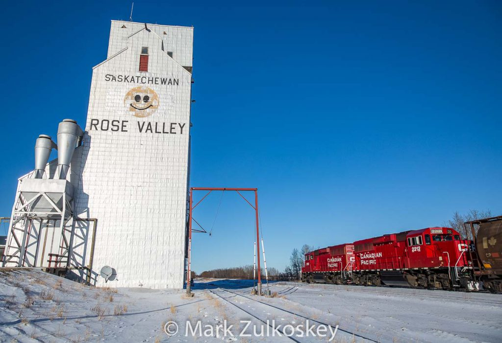 Rose Valley, SK grain elevator and train. Contributed by Mark Zulkoskey.