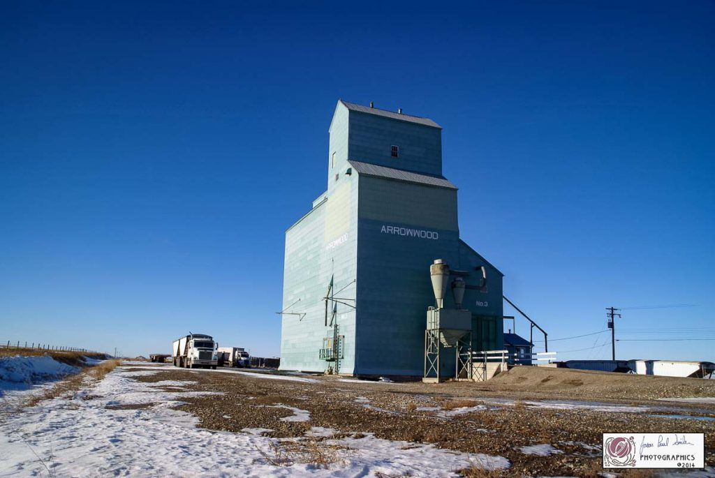 Arrowwood, AB grain elevator, July 2014. Contributed by Jason Paul Sailer.