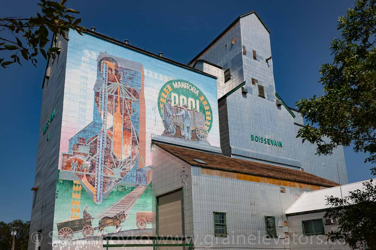 "Mural on former Pool ""A"" grain elevator in Boissevain, MB, Aug 2014. Contributed by Steve Boyko."