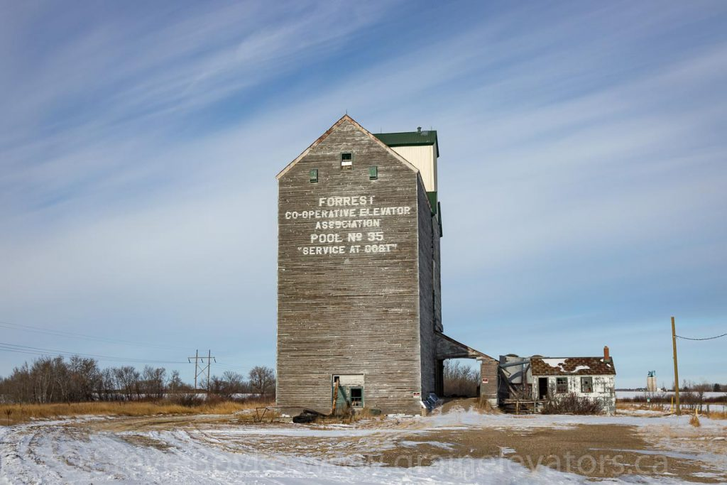 Forrest, MB grain elevator, Dec 2017. Contributed by Steve Boyko.