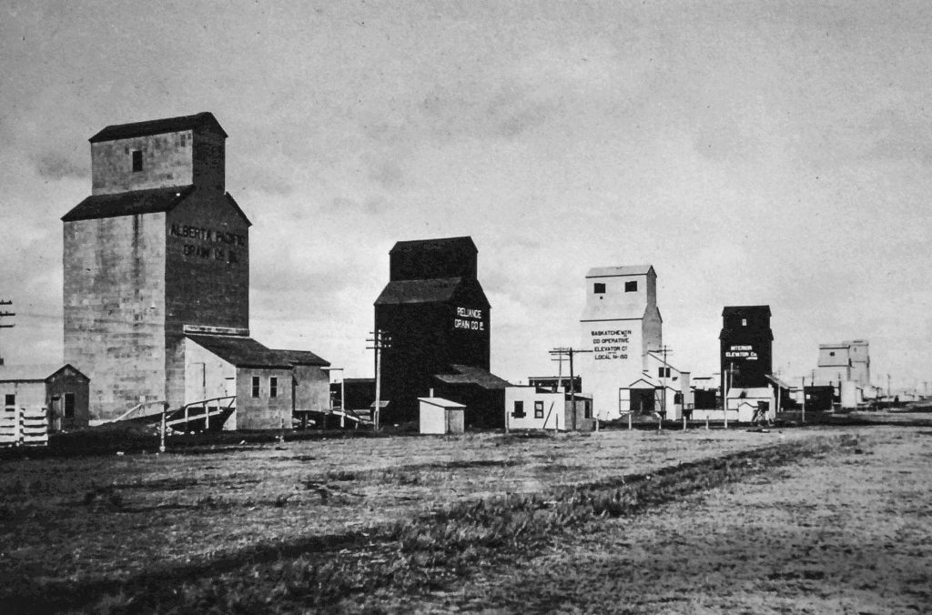 Six grain elevators in Herbert, SK. Date and photographer unknown.