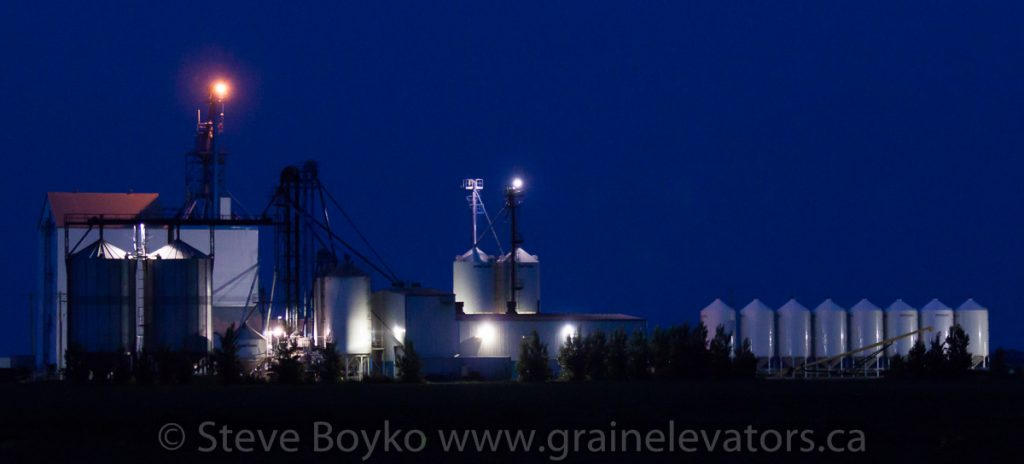 Jordan, MB grain elevator at night, July 2014. Contributed by Steve Boyko.