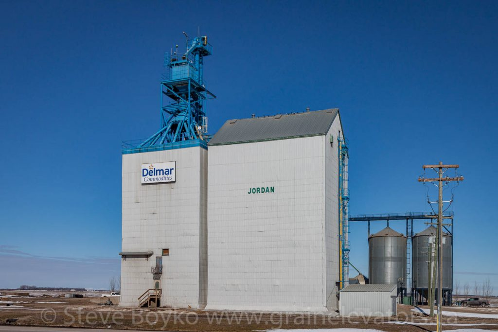 The Delmar Commodities grain elevator at Jordan, MB, March 2016. Contributed by Steve Boyko.