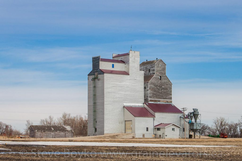 Kane, MB grain elevator, April 2014. Contributed by Steve Boyko.