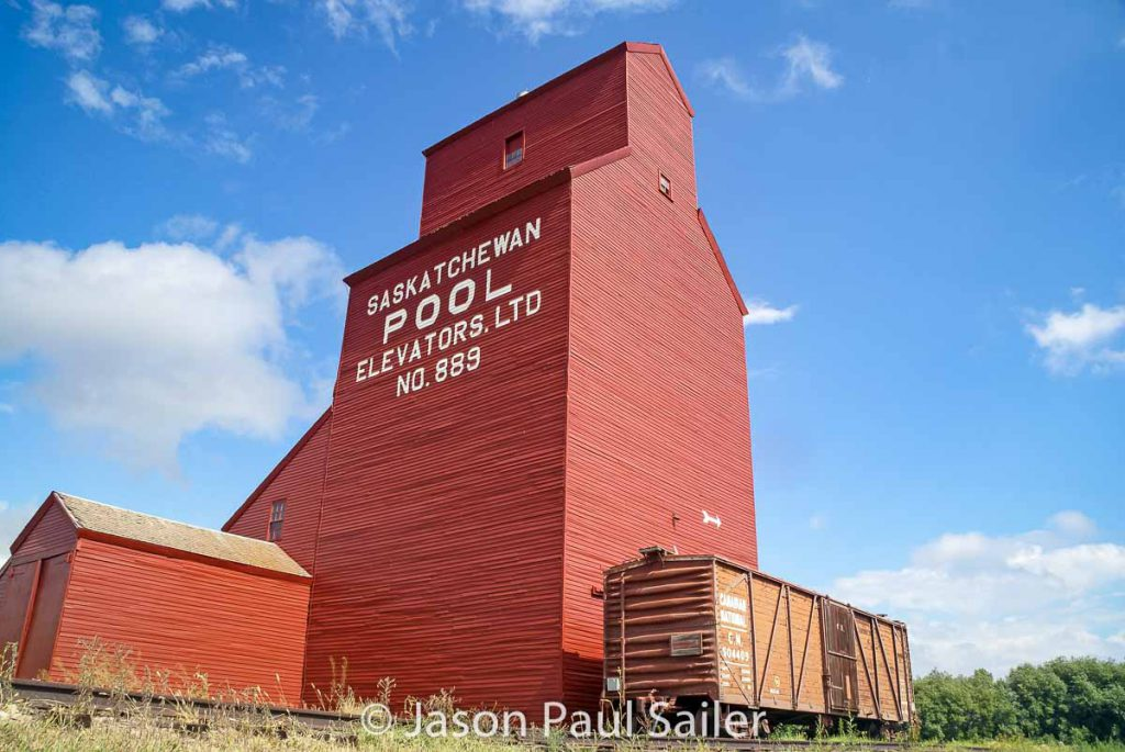 Former Keatley grain elevator in North Battleford, AB, July 2014. Contributed by Jason Paul Sailer.