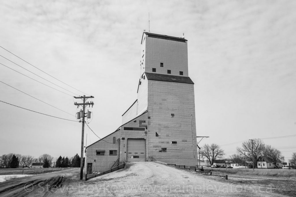 Lowe Farm, MB grain elevator, April 2014. Contributed by Steve Boyko.