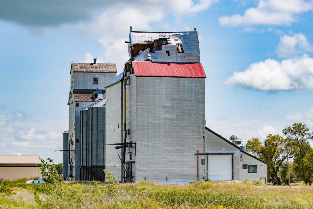 Damaged grain elevator in Minto, MB, August 2014. Contributed by Steve Boyko.
