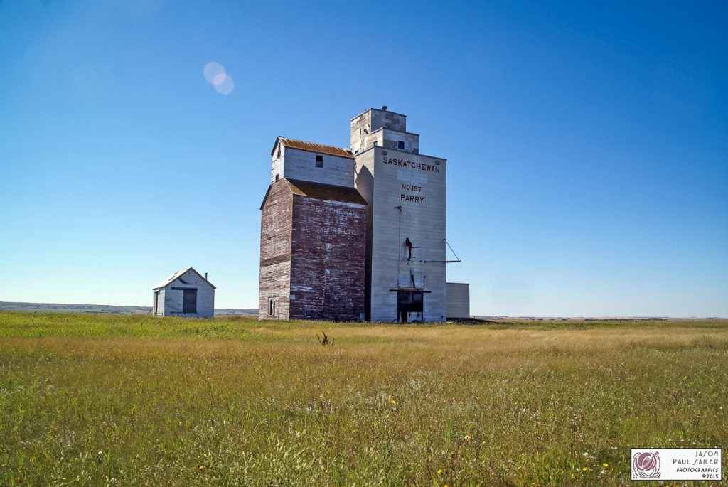 The grain elevator in Parry, SK, Sept 2014. Contributed by Jason Paul Sailer.