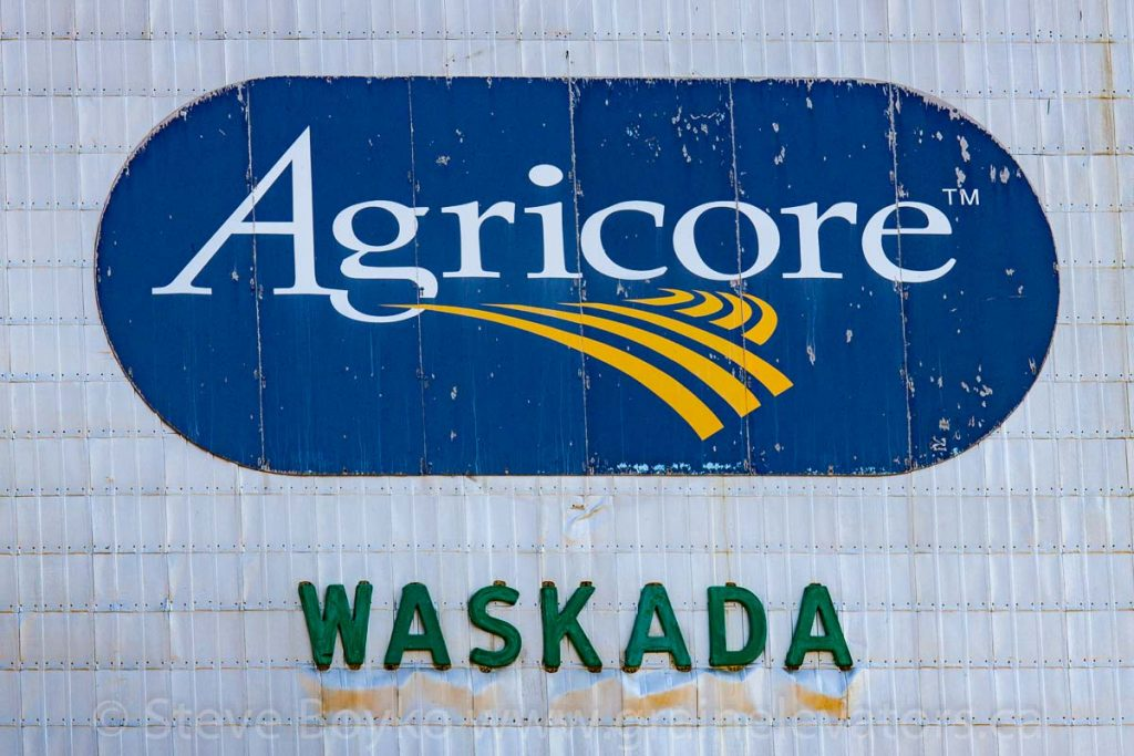 Agricore logo on grain elevator in Waskada, MB, Aug 2014. Contributed by Steve Boyko.