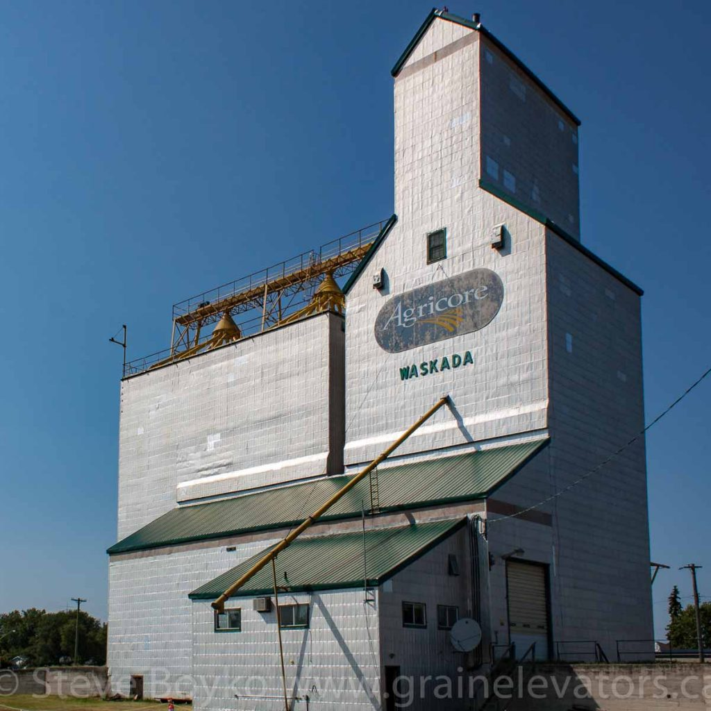 Waskada, MB grain elevator, Aug 2014. Contributed by Steve Boyko.