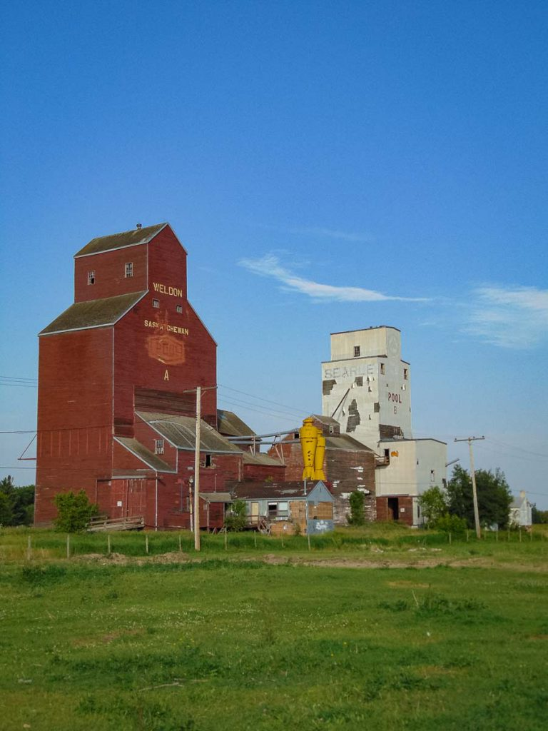 Grain elevators in Weldon, SK. Copyright by BW Bandy.