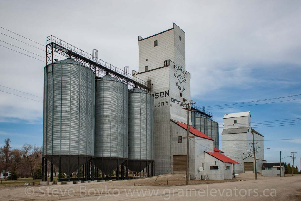 Grain elevators in Crystal City, MB, May 2014. Contributed by Steve Boyko.