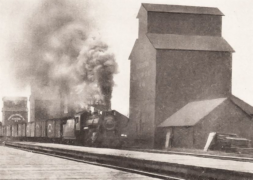 Dauphin grain elevators and steam engine, date unknown.