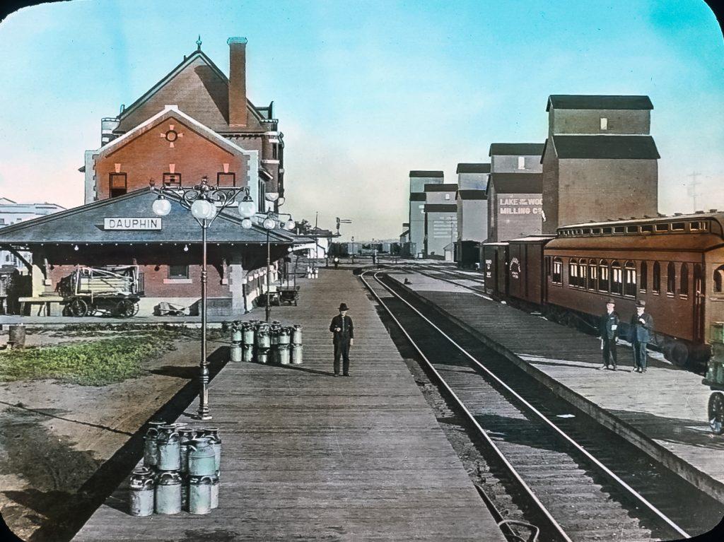 Dauphin train station and grain elevators, circa 1915.