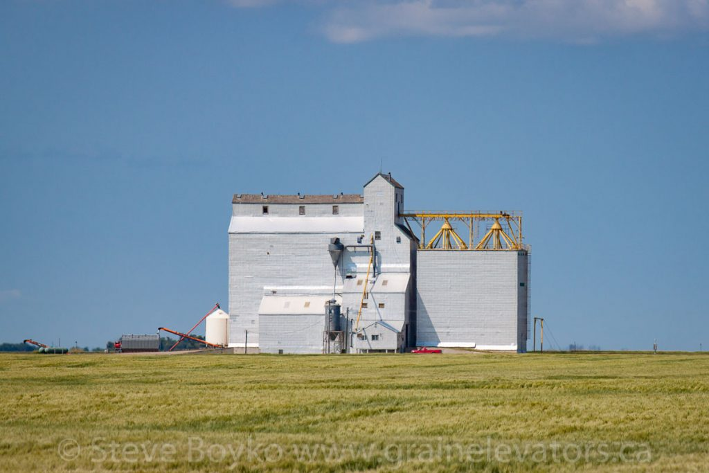 Grain elevator outside Deloraine, MB, Aug 2014. Contributed by Steve Boyko.