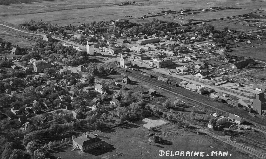 Aerial photo of Deloraine grain elevators, circa 1950.
