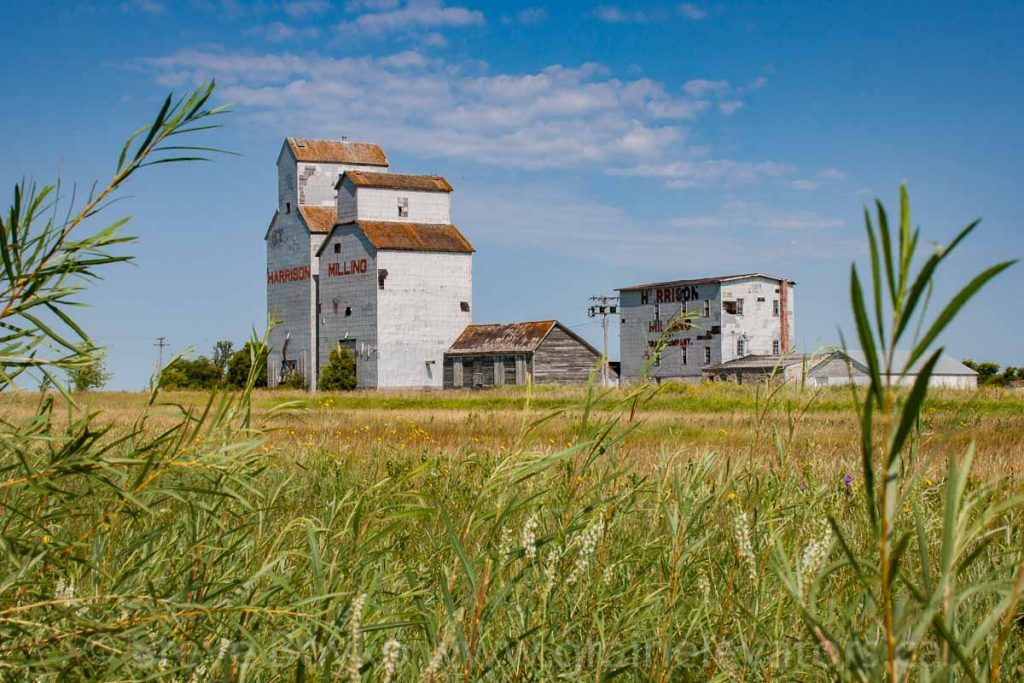 Grain elevator at Harrison Milling in Holmfield, MB, Aug 2014. Contributed by Steve Boyko.