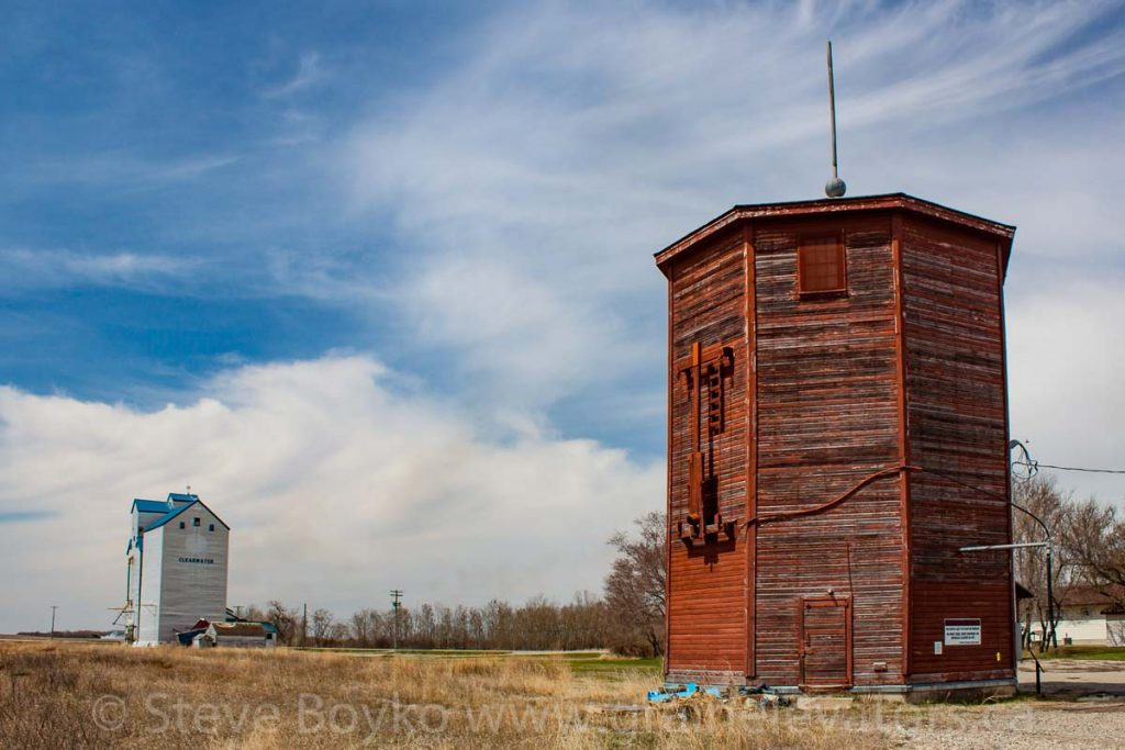 Water tower and elevator in Clearwater, MB, May 2014. Contributed by Steve Boyko.
