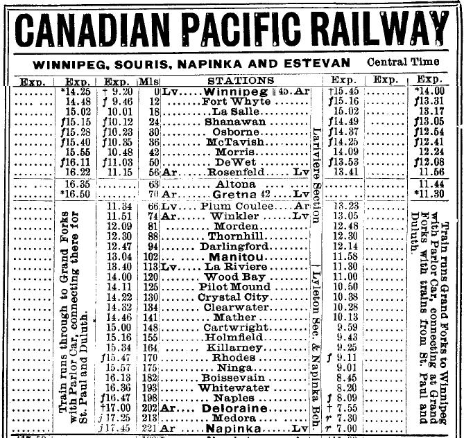 1907 CPR timetable, Winnipeg to Napinka