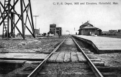 C.P.R. Depot, Mill and Elevators, Holmfield, Manitoba.