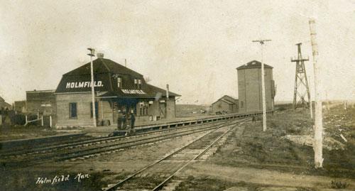 Holmfield, MB train station, circa 1906.