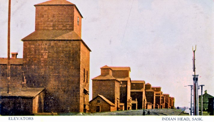 Old photo of grain elevators in Indian Head, SK.