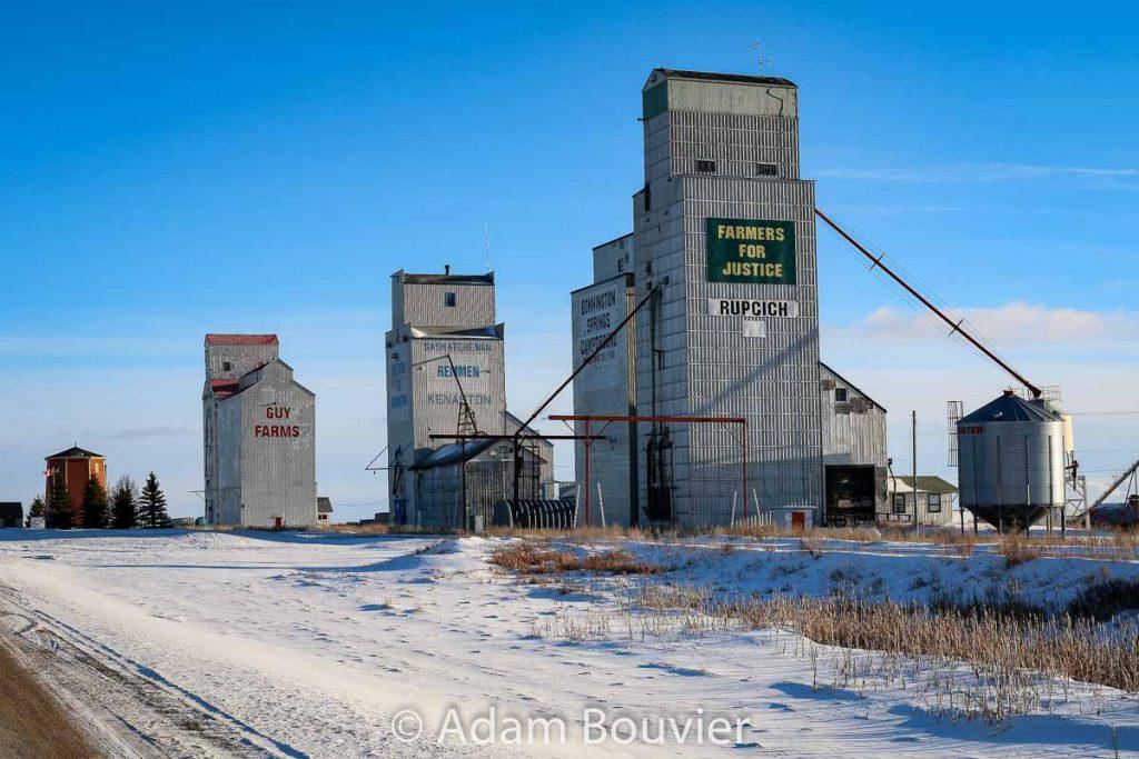 Grain elevators in Kenaston, SK, Feb 2018. Contributed by Adam Bouvier.