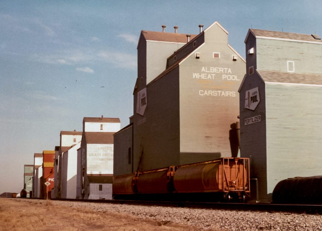 Carstairs, AB grain elevators, Mar 1983. Copyright by Robert Boyd.