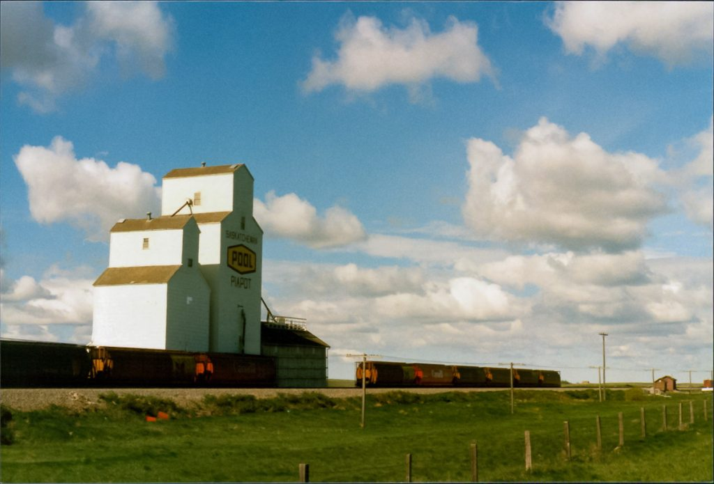 Grain elevator at Piapot, SK, May 1989. Copyright by Robert Boyd.