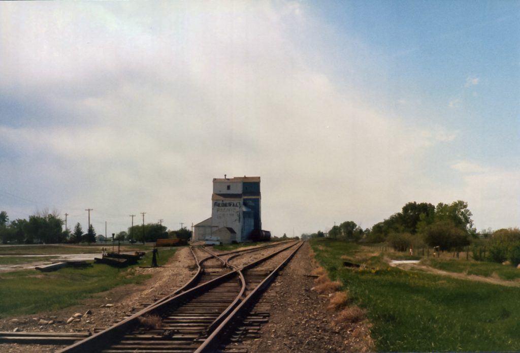 Grain elevators at Duchess, AB, May 1989. Copyright by Robert Boyd.
