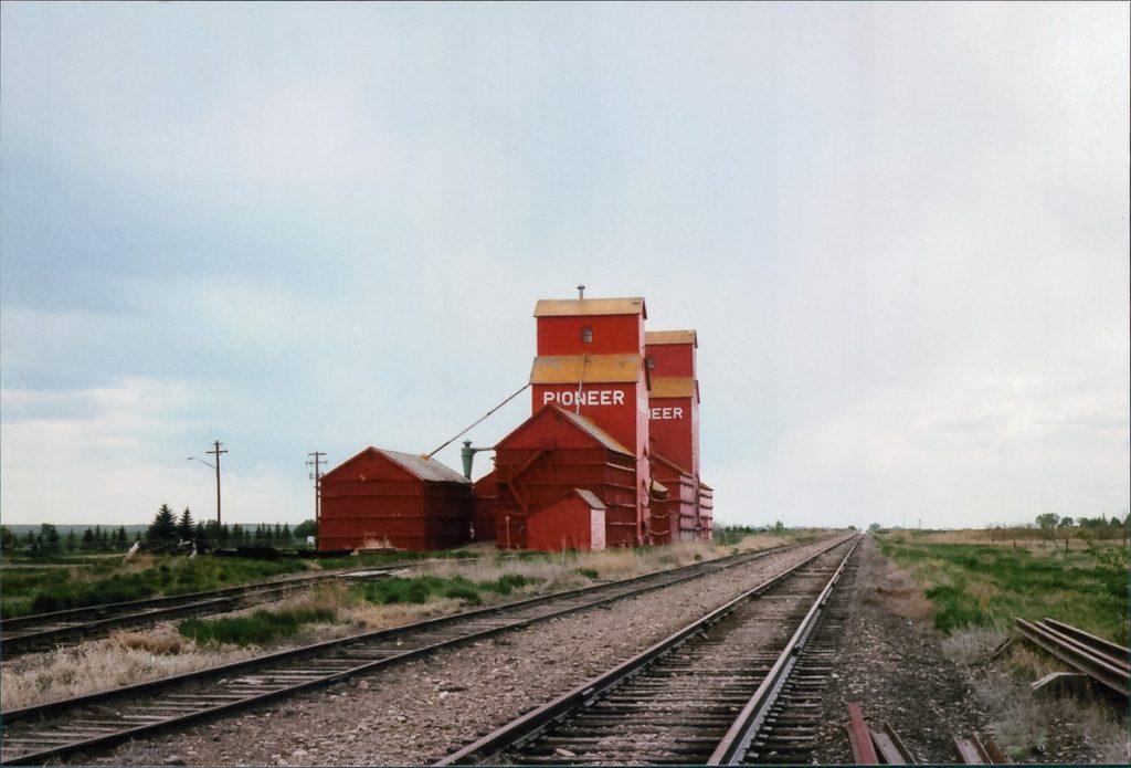 Grain elevators at Rosemary, AB, May 1989. Copyright by Robert Boyd.